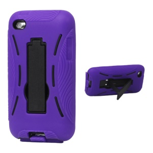 Snap-on Defender Case Cover with Stand for iPod Touch 4 - Purple