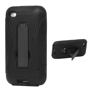 Snap-on Defender Case Cover with Stand for iPod Touch 4 - Black