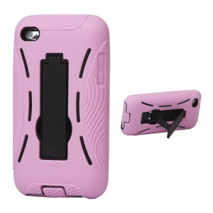 Snap-on Defender Case Cover with Stand for iPod Touch 4 - Pink