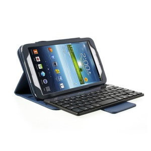 For Samsung Galaxy Tab 3 8.0 T3100 T3110 Removable Bluetooth Keyboard 360 Rotation Stand Leather Case - Blue