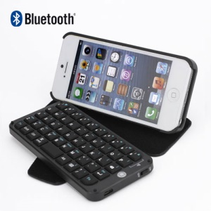 Portable PU Leather Bluetooth Keyboard Case for iPhone 5