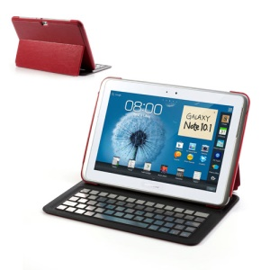 Ultra Thin Bluetooth Keyboard Leather Stand Case For Samsung Galaxy Note 10.1 N8000 N8010 N8013 - Red