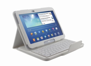 White Removable Bluetooth Keyboard Litchi Leather Stand Case for Samsung Galaxy Tab 3 10.1 P5200 P5210 P5220