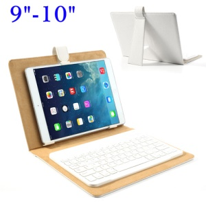 Universal Bluetooth Keyboard + Leather Case Stand for iPad/ Samsung Tab/ 9-10inch Tablet - White
