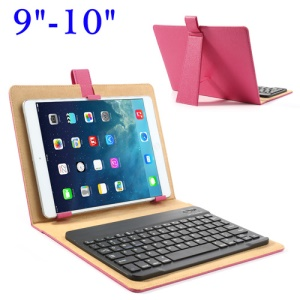 Detachable Bluetooth Keyboard Leather Cover Stand for iPad/ Samsung Tab/ 9-10inch Tablet - Rose