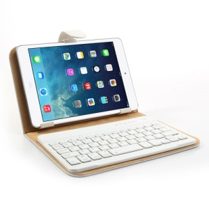 White 7-8 inch Tablet PC Protective Leather Case + Bluetooth Mobile Keyboard for iPad mini 2 Samsung Galaxy Tab 7.0 / Note 8.0 Google Nexus 7