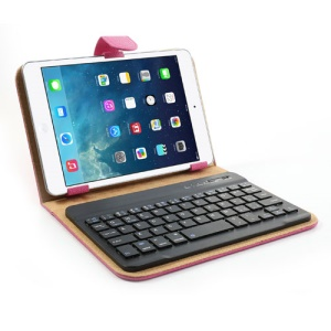 Rose 7-8 inch Tablet PC Protective Leather Case + Bluetooth Mobile Keyboard for iPad mini Samsung Galaxy Tab 7.0 / Note 8.0 Google Nexus 7