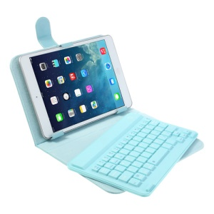 Blue 7-8 inch Tablet PC Bluetooth V3.0 Keyboard Protective Leather Case w/ Stand for iPad Mini / Mini 2 Galaxy Tab 7.0 8.0 / Note 8.0 Google Nexus 7