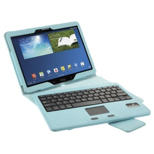 TouchPad Leather Bluetooth Keyboard Case for Samsung Galaxy Note 10.1 2014 Edition P600 / Tab Pro 10.1 T520 T525 - Blue