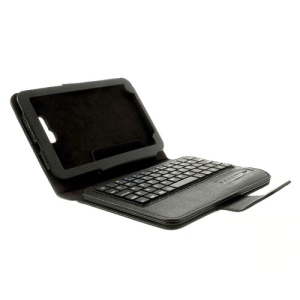 Black Detachable Bluetooth Keyboard Leather Stand Cover for Samsung Galaxy Tab 3 7.0 Lite T110 T111