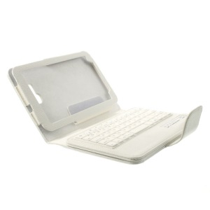 White Detachable Bluetooth Keyboard Leather Stand Cover for Samsung Galaxy Tab 3 7.0 Lite T110 T111