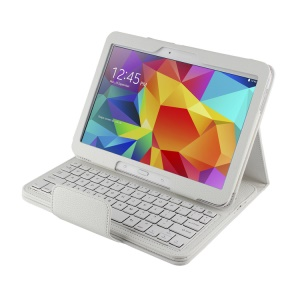 White Detachable Bluetooth Keyboard Lychee Leather Shell Stand for Samsung Galaxy Tab 4 10.1 T530 / Tab 3 10.1 P5200