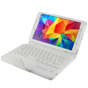White Lychee PU Leather Stand Cover w/ Removable Bluetooth Keyboard for Samsung Galaxy Tab 4 8.0 T335 T331 T330