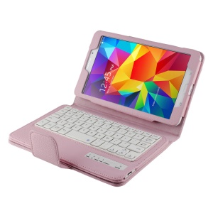 Pink Removable Bluetooth Keyboard Lychee PU Leather Kickstand Case for Samsung Galaxy Tab 4 8.0 T335 T331 T330