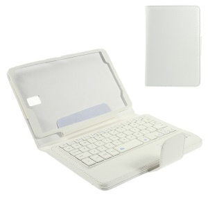 Leather Case Bluetooth Keyboard w/ Remote Shutter & Stand for Samsung Galaxy Tab S 8.4 T700 T705 - White