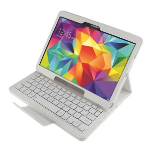 Leather Case Bluetooth Keyboard w/ Remote Shutter & Stand for Samsung Galaxy Tab S 10.5 T800 T805 - White