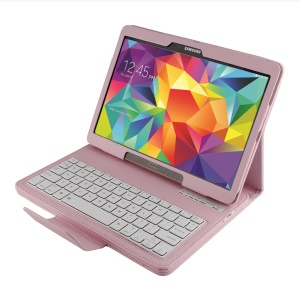 Leather Case Bluetooth Keyboard w/ Remote Shutter & Stand for Samsung Galaxy Tab S 10.5 T800 T805 - Pink