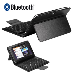 Samsung Galaxy Tab 8.9 P7300 P7310 Bluetooth Keyboard Case Leather - Black