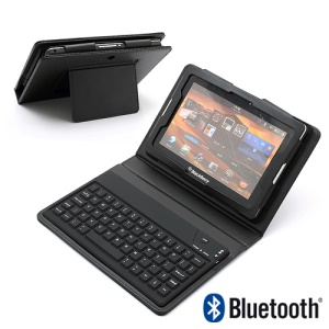 Bluetooth Keyboard + Protective Leather Case + Stand for BlackBerry PlayBook 7 inch Tablet