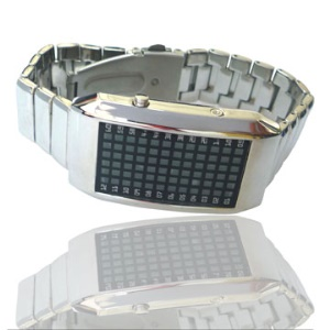 72-LED Blue Light Matrix Stainless Steel Watch Wristwatch
