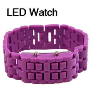 Fashion 28 Red LED Lady Girl Sport Wrist Watch Lava Plastic