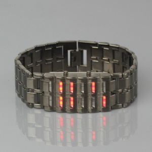New Fashion LED Lava Samurai Metal Wrist Watch - Red Led Light