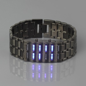 New Fashion LED Lava Samurai Metal Wrist Watch - Blue Led Light