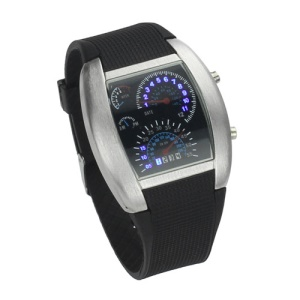 Car Speedometer Matrix Men Sports LED Wrist Watch Display Date Day Calendar