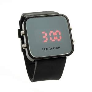 Sports Style Silicone Band Unisex Mirror Face Plastic LED Digital Wristwatch - Black