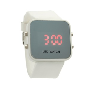 Sports Style Silicone Band Unisex Mirror Face Plastic LED Digital Wristwatch - White