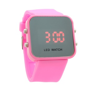 Sports Style Silicone Band Unisex Mirror Face Plastic LED Digital Wristwatch - Pink