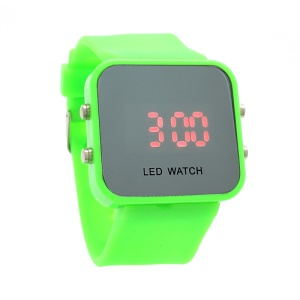 Sports Style Silicone Band Unisex Mirror Face Plastic LED Digital Wristwatch - Green