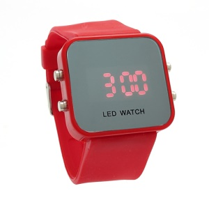 Sports Style Silicone Band Unisex Mirror Face Plastic LED Digital Wristwatch - Red