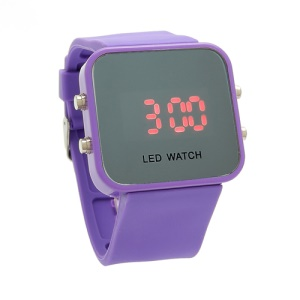 Sports Style Silicone Band Unisex Mirror Face Plastic LED Digital Wristwatch - Purple