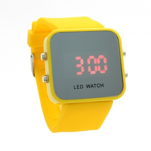 Sports Style Silicone Band Unisex Mirror Face Plastic LED Digital Wristwatch - Yellow