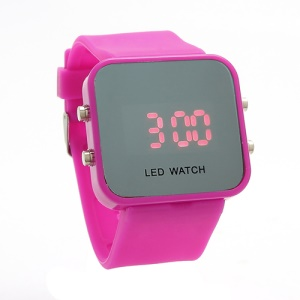 Sports Style Silicone Band Unisex Mirror Face Plastic LED Digital Wristwatch - Rose