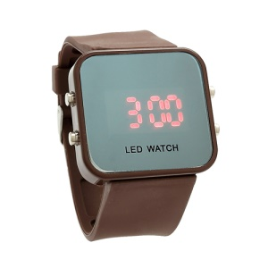 Sports Style Silicone Band Unisex Mirror Face Plastic LED Digital Wristwatch - Coffee