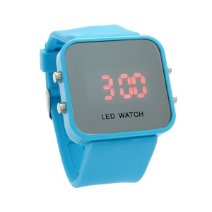 Sports Style Silicone Band Unisex Mirror Face Plastic LED Digital Wristwatch - Baby Blue