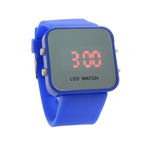 Sports Style Silicone Band Unisex Mirror Face Plastic LED Digital Wristwatch - Dark Blue