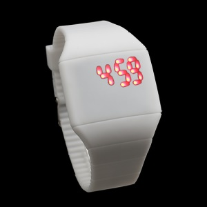 Fashion Touch Screen LED Date Day Silicone Rubber Band Digital Watch - White