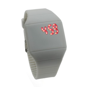 Fashion Touch Screen LED Date Day Silicone Rubber Band Digital Watch - Grey