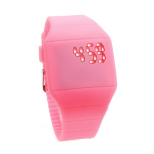 Fashion Touch Screen LED Date Day Silicone Rubber Band Digital Watch - Pink