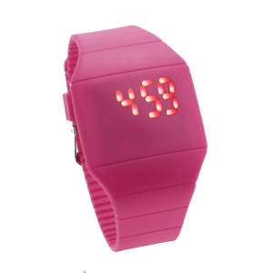 Fashion Touch Screen LED Date Day Silicone Rubber Band Digital Watch - Rose