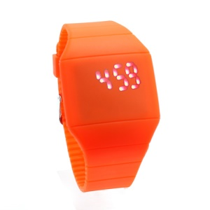 Fashion Touch Screen LED Date Day Silicone Rubber Band Digital Watch - Orange