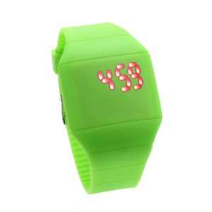Fashion Touch Screen LED Date Day Silicone Rubber Band Digital Watch - Green