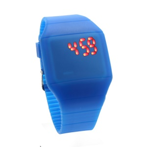 Fashion Touch Screen LED Date Day Silicone Rubber Band Digital Watch - Dark Blue