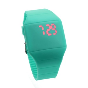 Fashion Touch Screen LED Date Day Silicone Rubber Band Digital Watch - Baby Blue