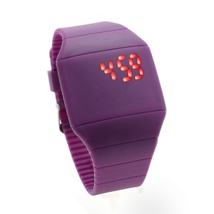 Fashion Touch Screen LED Date Day Silicone Rubber Band Digital Watch - Purple