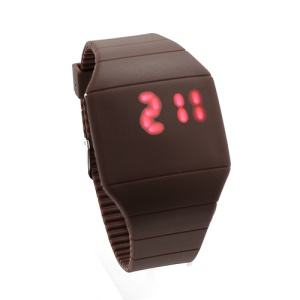Fashion Touch Screen LED Date Day Silicone Rubber Band Digital Watch - Brown