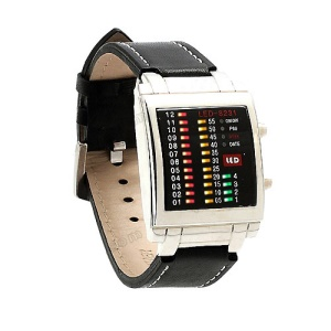 Multicolor Light LED Watch Week Date Display Leather Watchband 8231 - Silver Dial